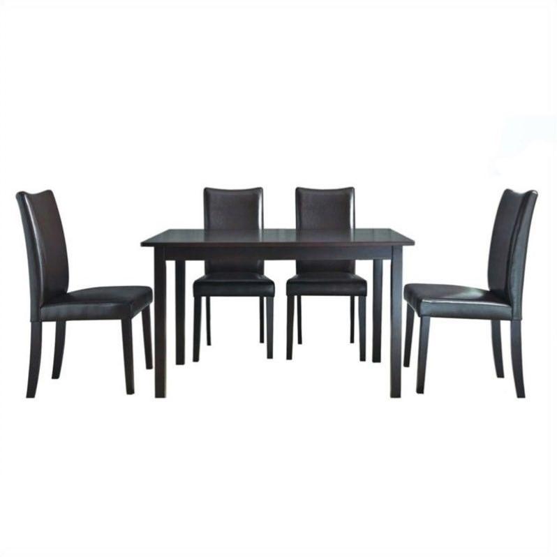 Berreman Dark Brown 5 Piece Modern Dining Set | Affordable Modern Design |  Baxton Studio