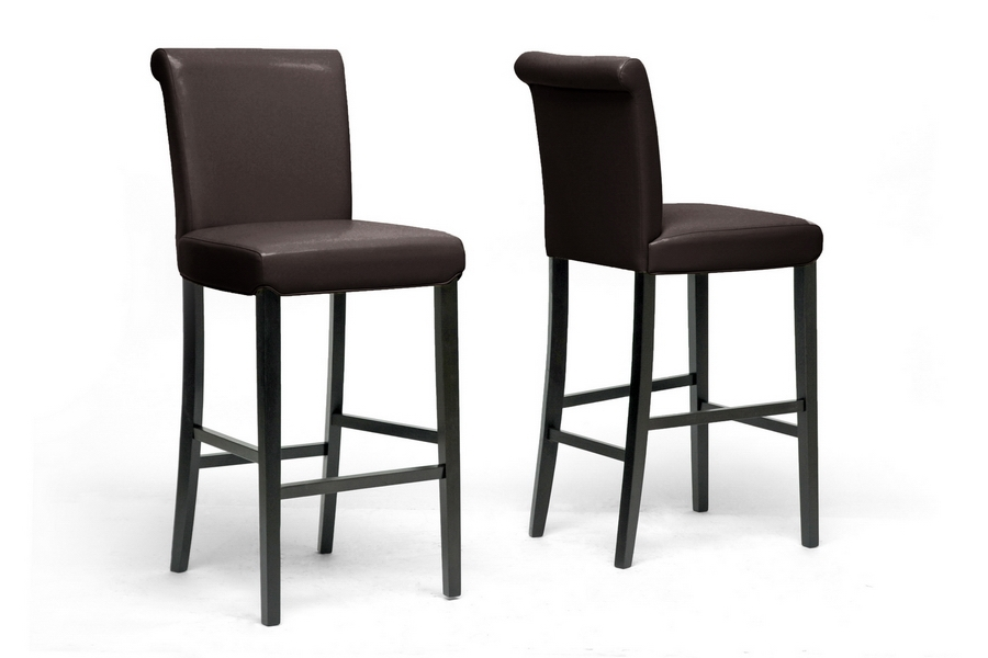 Baxton Studio Bianca Brown Modern Bar Stool (Set of 2) Bianca Dark Brown Leather Bar Height Bar Stool 30 (set of 2), BSY-303-001, Baxton Studio Affordable Modern Design