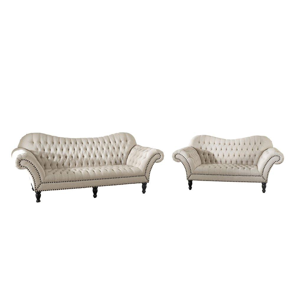 Baxton Studio Bostwick Beige Linen Classic Victorian Sofa Set | Affordable  Modern Furniture In Chicago