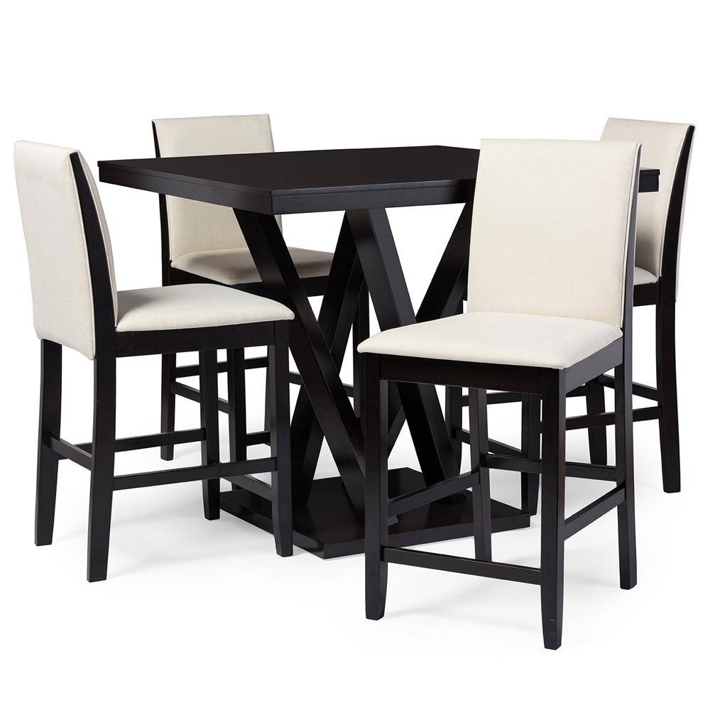 everdon dark brown  piece modern pub table set  affordable  - everdon dark brown  piece modern pub table set  affordable modern design baxton studio
