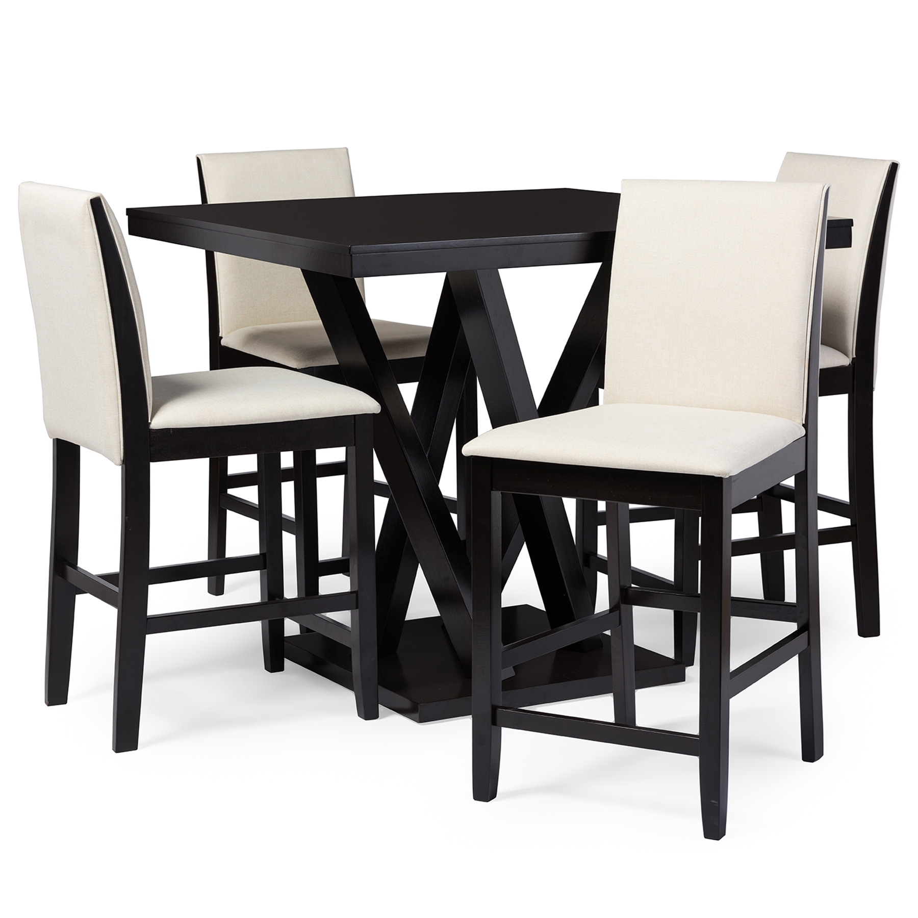 everdon dark brown 5 piece modern pub table set affordable modern design baxton studio