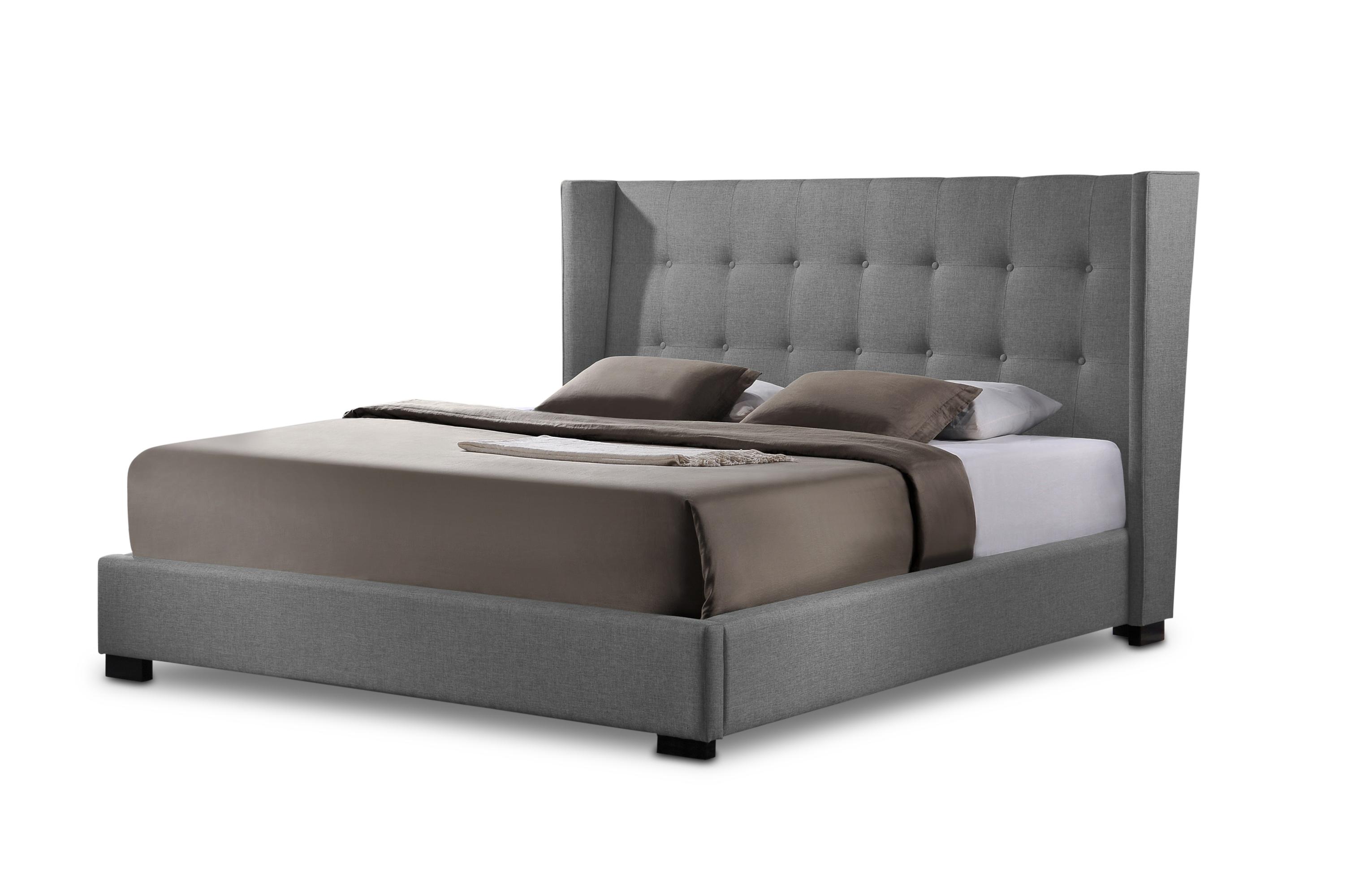 favela gray linen modern bed with upholstered headboard king size affordable modern design baxton studio - Upholstered Headboard King