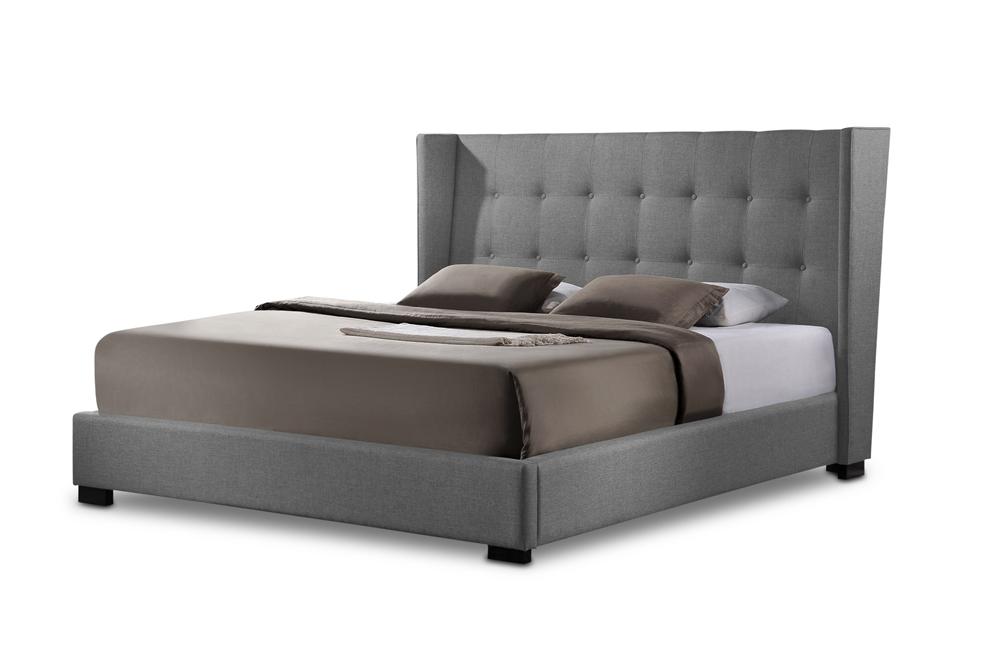 Favela Gray Linen Modern Bed With Upholstered Headboard