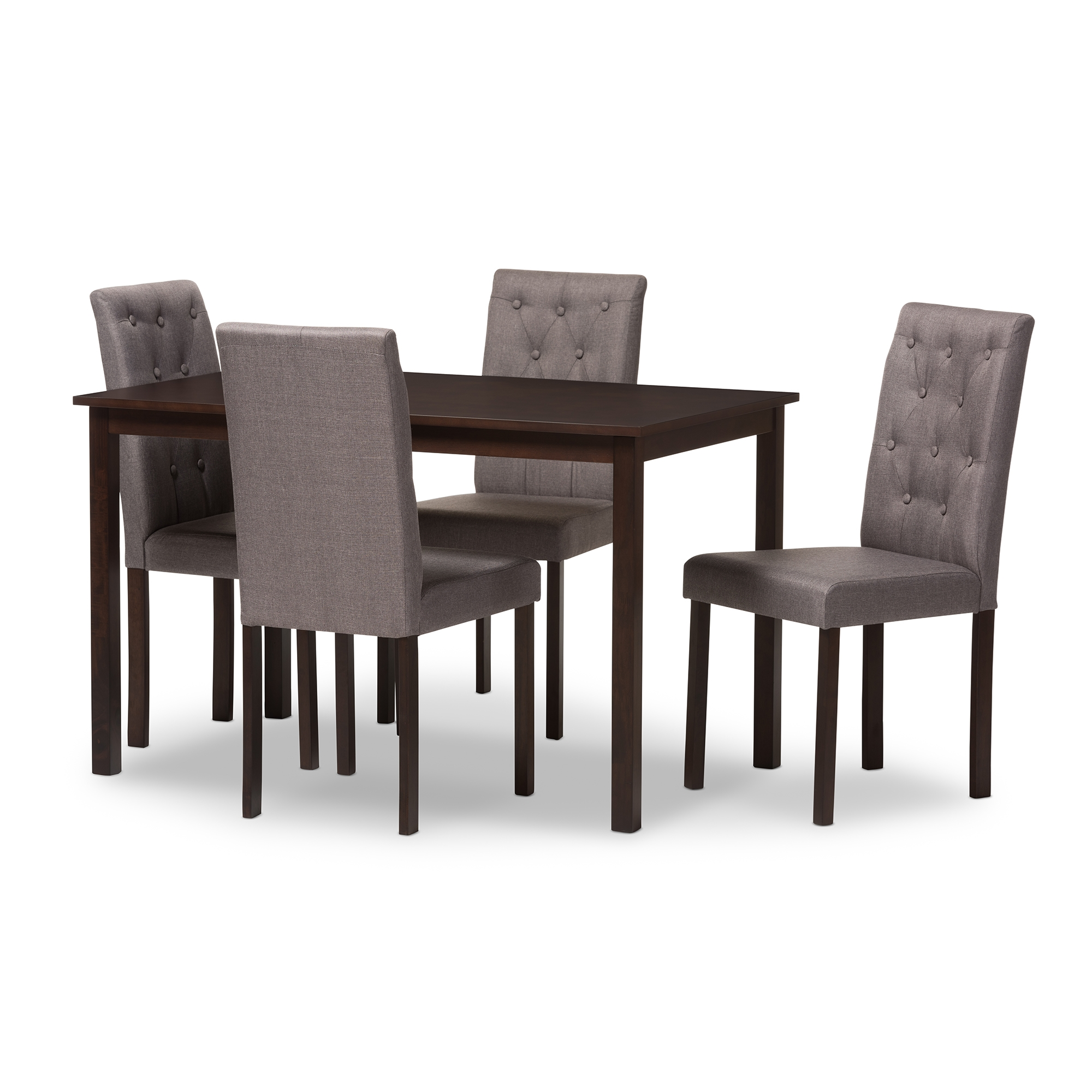 Baxton Studio Gardner Modern And Contemporary 5 Piece Dark Brown Finished  Grey Fabric Upholstered Dining Set