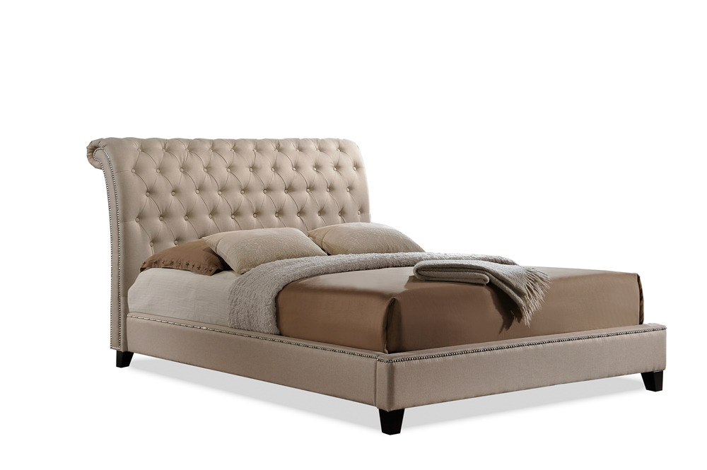 Baxton Studio Jazmin Tufted Light Beige Modern Bed With