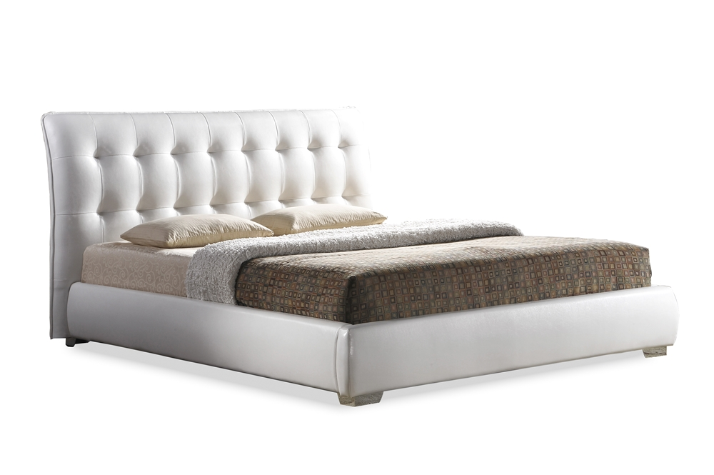 baxton studio jeslyn white modern bed with tufted headboard queen size affordable modern design baxton studio - Tufted Bed Frame Queen