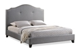 Baxton Studio Marsha Scalloped Gray Linen Modern Bed with Upholstered Headboard - King Size Baxton Studio Marsha Scalloped Gray Linen Modern Bed with Upholstered Headboard - King Size, BBT6292 Bed-Grey Linen-King, Baxton Studio Affordable Modern Design