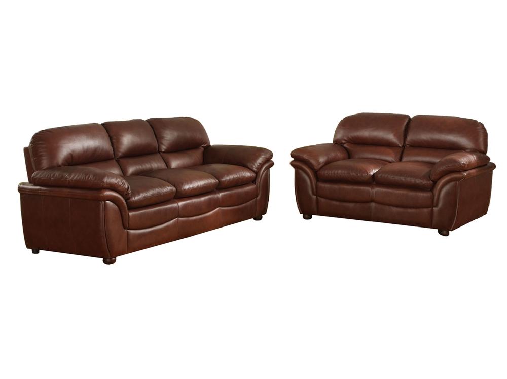 Baxton Studio Redding Cognac Brown Leather Modern Sofa Set | Living ...