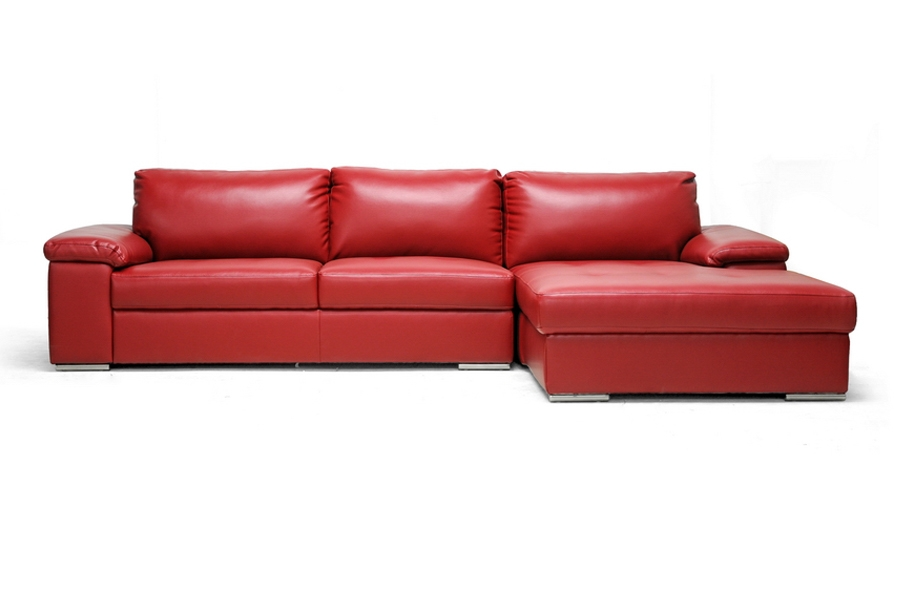 Dawson Red Leather Modern Sectional Sofa affordable modern furniture in Chicago, Dawson Red Leather Modern Sectional Sofa, Living Room Furniture Chicago