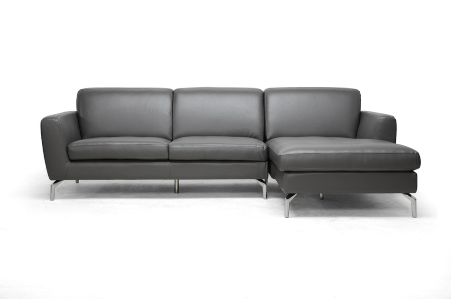 Donovan Gray Leather Modern Sectional Sofa affordable modern furniture in Chicago, Donovan Gray Leather Modern Sectional Sofa, Living Room Furniture Chicago