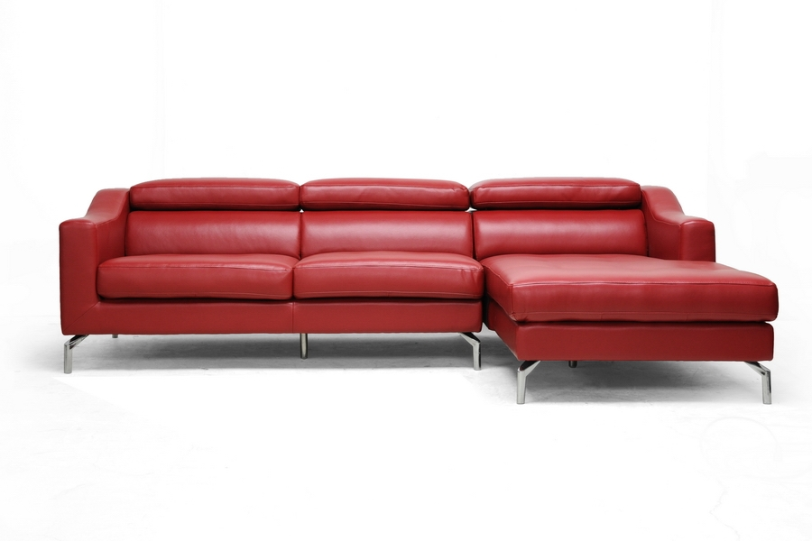 Levi Red Leather Modern Sectional Sofa affordable modern furniture in Chicago, Levi Red Leather Modern Sectional Sofa, Living Room Furniture Chicago