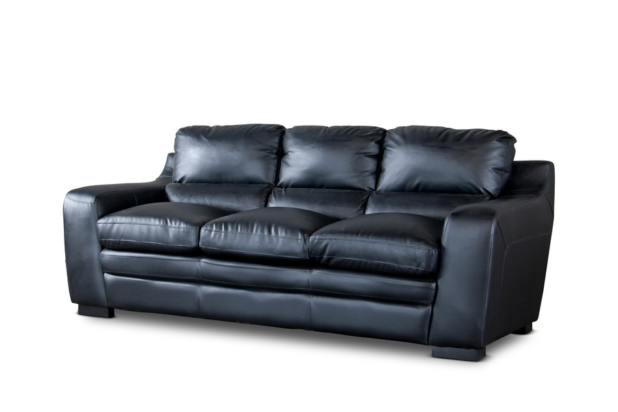 baxton studio diplomat modern black leather sofa affordable modern furniture in chicago