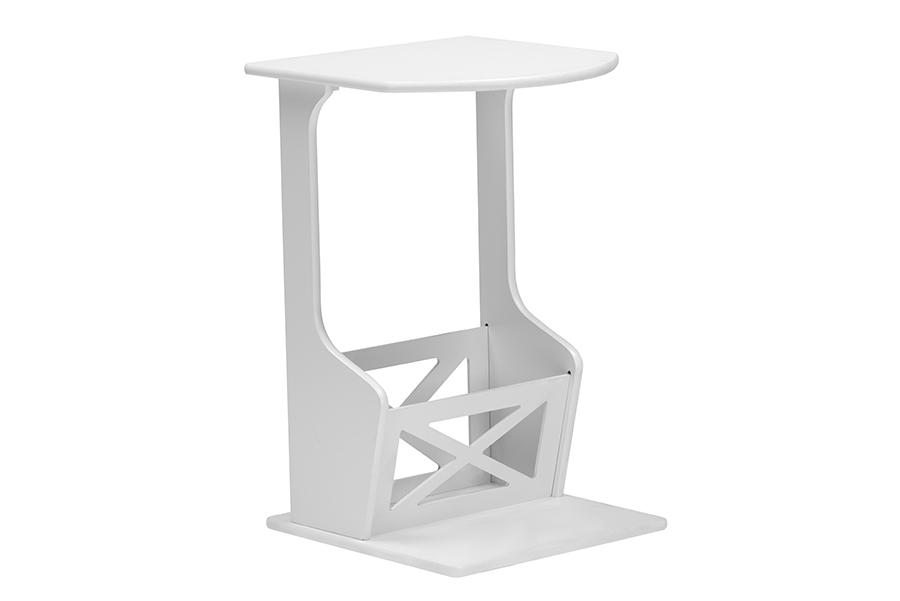 baxton studio agnola white sofa side magazine storage table one 1 end table modern - White Sofa Table