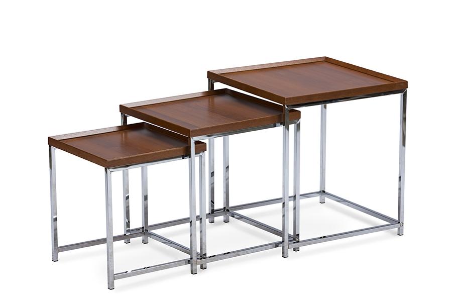 Baxton Studio Adelina 3 Piece Wood Top Chrome Base Nesting Table Set Three  (3