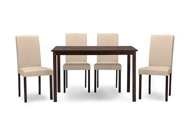 Baxton Studio Andrew Contemporary Espresso Wood Beige Fabric 5 PC Dining SetOne (1) Dining Table, Four (4) Dining Chairs Dining Sets/Dark Brown/Brown/Wood/Fabric Chairs/Grey