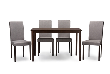 Baxton Studio Andrew Contemporary Espresso Wood Grey Fabric 5PC Dining SetOne (1) Dining Table, Four (4) Dining Chairs Dining Sets/Dark Brown/Brown/Wood/Fabric Chairs/Beige