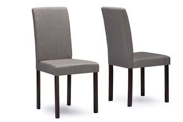 Baxton Studio Andrew Contemporary Espresso Wood Grey Fabric Dining ChairsFour 4 Chairs