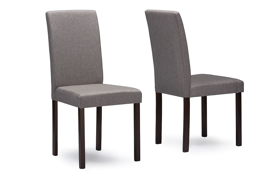 Baxton Studio Andrew Contemporary Espresso Wood Grey Fabric Dining  ChairsFour (4) Dining Chairs