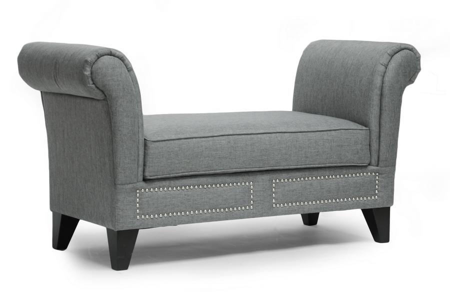 Baxton Studio Marsha Gray Linen Modern Scroll Arm Bench | Affordable Modern  Design | Baxton Studio