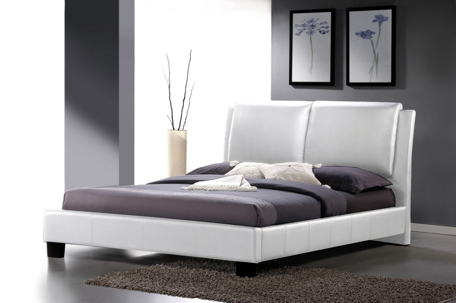 Baxton Studio Sabrina White Modern Bed with Overstuffed Headboard - Full Size Baxton Studio Sabrina White Modern Bed with Overstuffed Headboard - Full Size, BBT6082-White-Bed-Full, Baxton Studio Affordable Modern Design