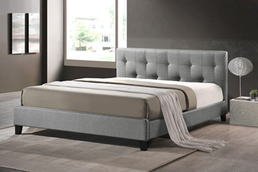 Baxton Studio Annette Gray Linen Modern Bed with Upholstered Headboard - Queen Size Annette Gray Linen Modern Bed with Upholstered Headboard - Queen Size, BSBBT6140A2-Queen-Grey DE800, Baxton Studio Affordable Modern Design