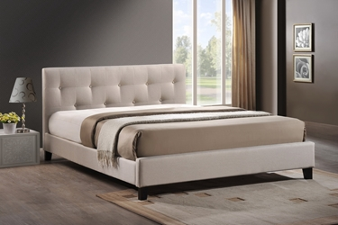 Baxton Studio Annette Light Beige Linen Modern Bed with Upholstered Headboard - Full Size Annette Light Beige Linen Modern Bed with Upholstered Headboard - Full Size, BSBBT6140A2-Full-Light Beige 6086-1, Baxton Studio Affordable Modern Design