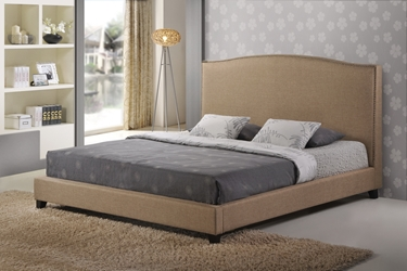 Baxton Studio Aisling Dark Beige Fabric Platform Bed-King Size Baxton Studio Aisling Dark Beige Fabric Platform Bed-King Size, BSBBT6328-King-Beige (B-55B), Baxton Studio Affordable Modern Design