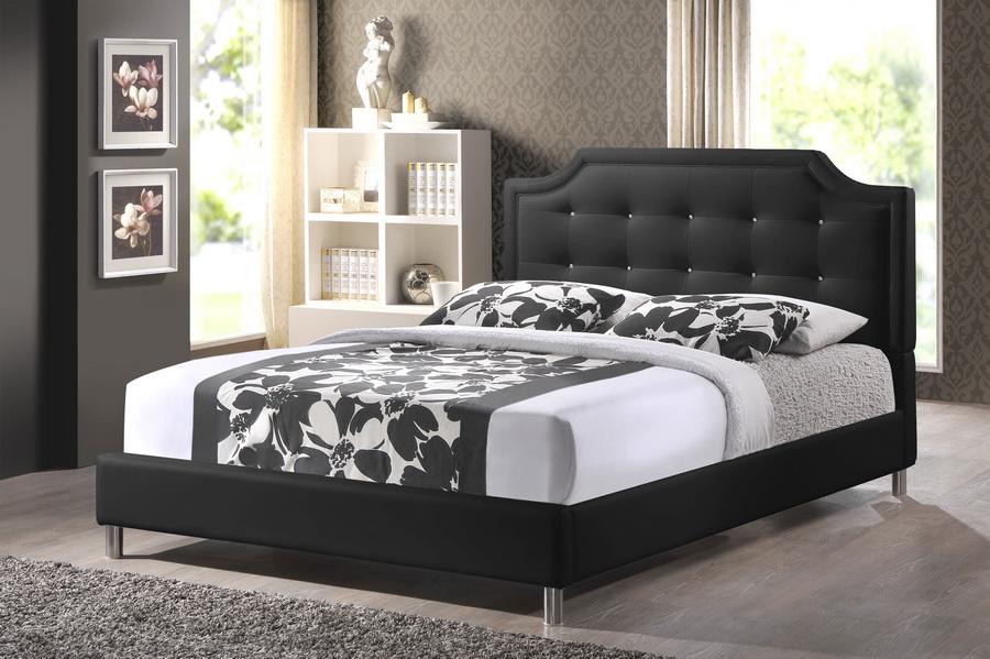 Carlotta Black Modern Bed With Upholstered Headboard