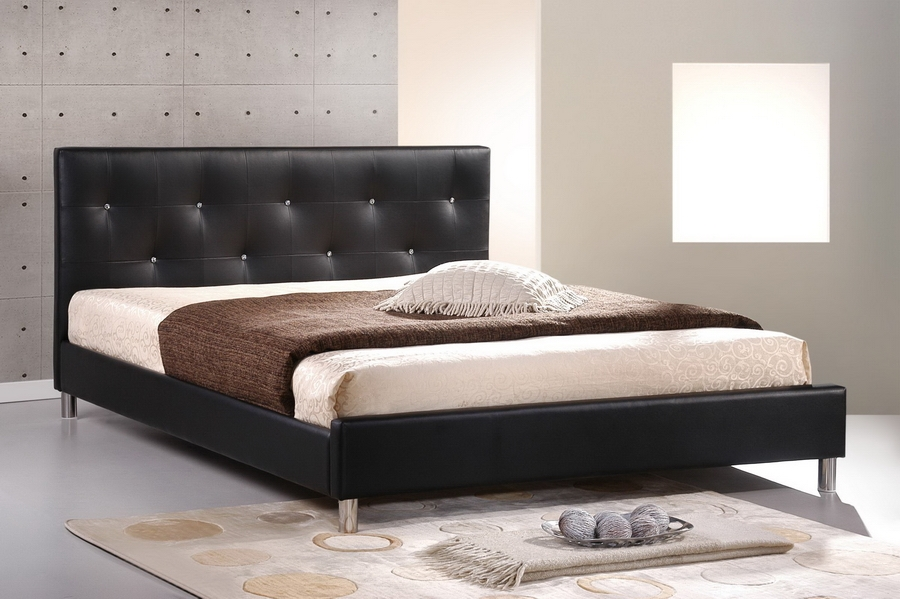 Baxton Studio Barbara Black Modern Bed with Crystal Button Tufting - Full Size Baxton Studio Barbara Black Modern Bed with Crystal Button Tufting - Full Size, BBT6140-Black-Full, Baxton Studio Affordable Modern Design