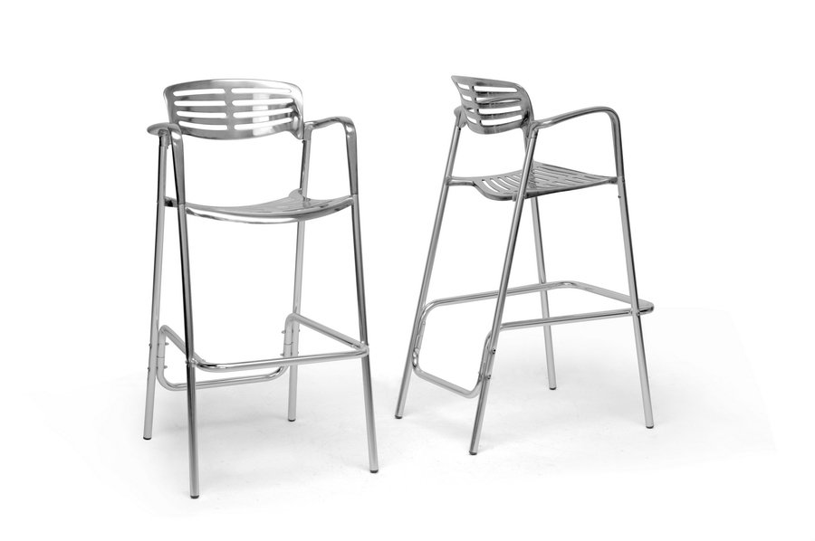 Baxton Studio Ethan Modern Aluminum Bar Stool (Set of 2) - BS8119-BS (2)