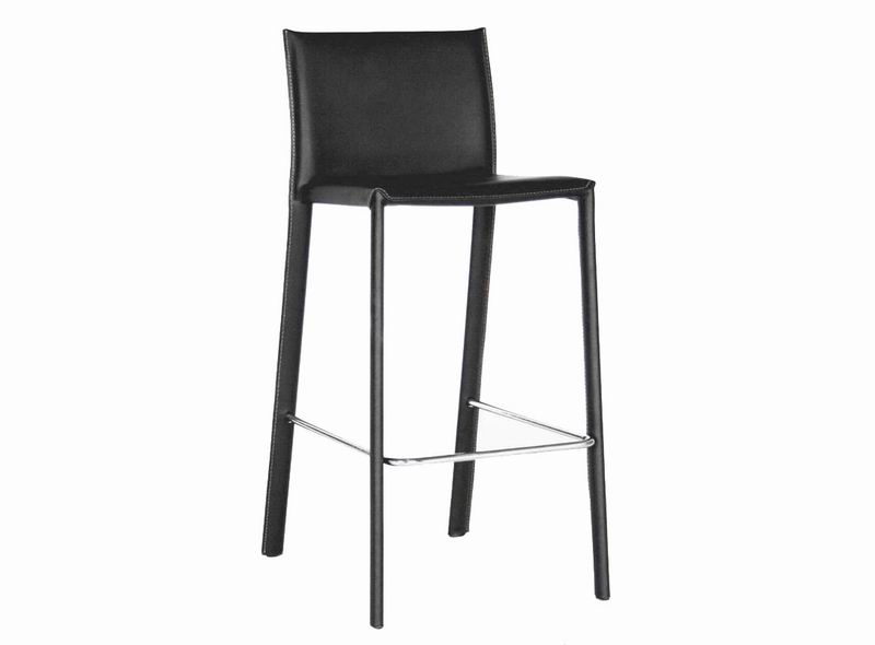 Baxton Studio Crawford Black Leather Counter Height 24 Bar Stool Set Of 2