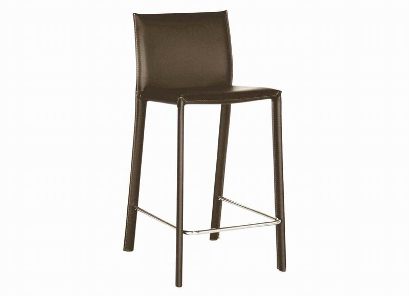 Barstool -Counter Stool -Crawford Brown Leather Set of 2