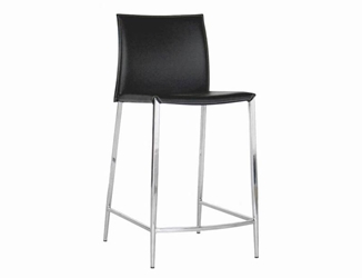 New York Black Leather Counter Height 24 Bar Stool (set of 2)