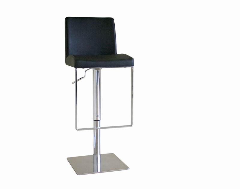 Baxton Studio Dallas Black Leather Adjustable Swivel Bar Stool