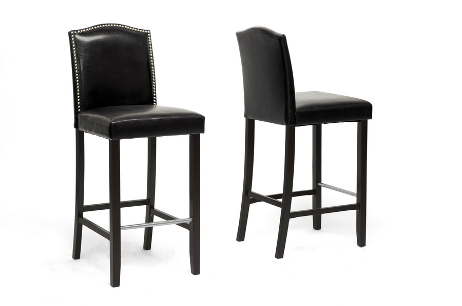 Baxton Studio Libra Black Modern Bar Stool with Nail Head Trim (Set of 2) Baxton Studio Libra Black Modern Bar Stool with Nail Head Trim (Set of 2), BSBBT5111 Bar Stool-Black (2), Baxton Studio Affordable Modern Design