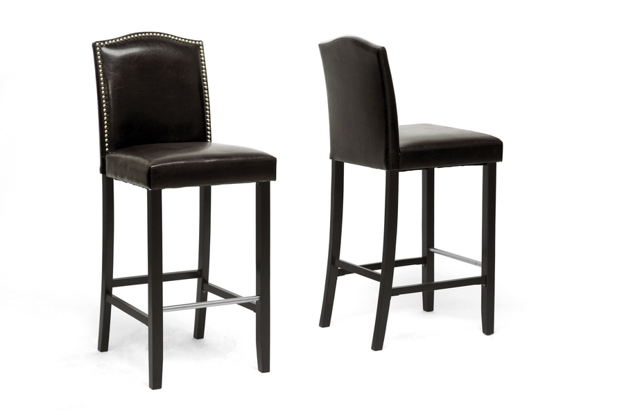 Baxton Studio Libra Dark Brown Modern Bar Stool with Nail Head Trim (Set of 2) Baxton Studio Libra Dark Brown Modern Bar Stool with Nail Head Trim (Set of 2), BSBBT5111 Bar Stool-Brown (2), Baxton Studio Affordable Modern Design
