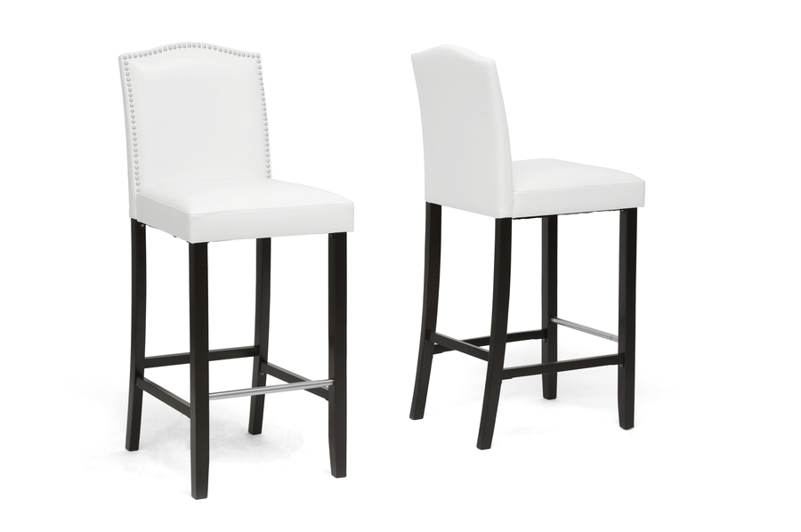 Baxton Studio Libra White Modern Bar Stool with Nail Head Trim (Set of 2) Baxton Studio Libra White Modern Bar Stool with Nail Head Trim (Set of 2), BSBBT5111 Bar Stool-White (2), Baxton Studio Affordable Modern Design