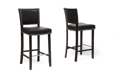 Baxton Studio Aries Black Modern Bar Stool with Nail Head Trim (Set of 2) Baxton Studio Aries Black Modern Bar Stool with Nail Head Trim (Set of 2), BSBBT5112 Bar Stool-Black (2), Baxton Studio Affordable Modern Design