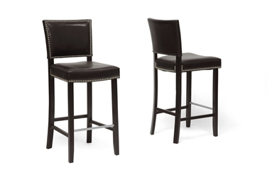 Baxton Studio Aries Dark Brown Modern Bar Stool with Nail Head Trim (Set of 2) Baxton Studio Aries Dark Brown Modern Bar Stool with Nail Head Trim (Set of 2), BSBBT5112 Bar Stool-Brown (2), Baxton Studio Affordable Modern Design