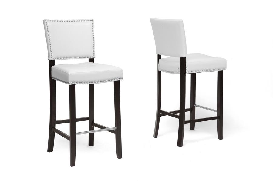 baxton studio aries white modern bar stool with nail head trim set of 2