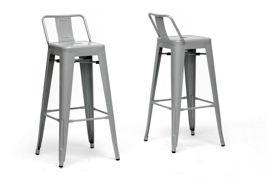 Baxton Studio French Industrial Modern Bar Stool with Back Support in Gray (Set of 2) Baxton Studio French Industrial Modern Bar Stool with Back Support in Gray (Set of 2), BSM-94115X-30-silver-PSTL (2), Baxton Studio Affordable Modern Design