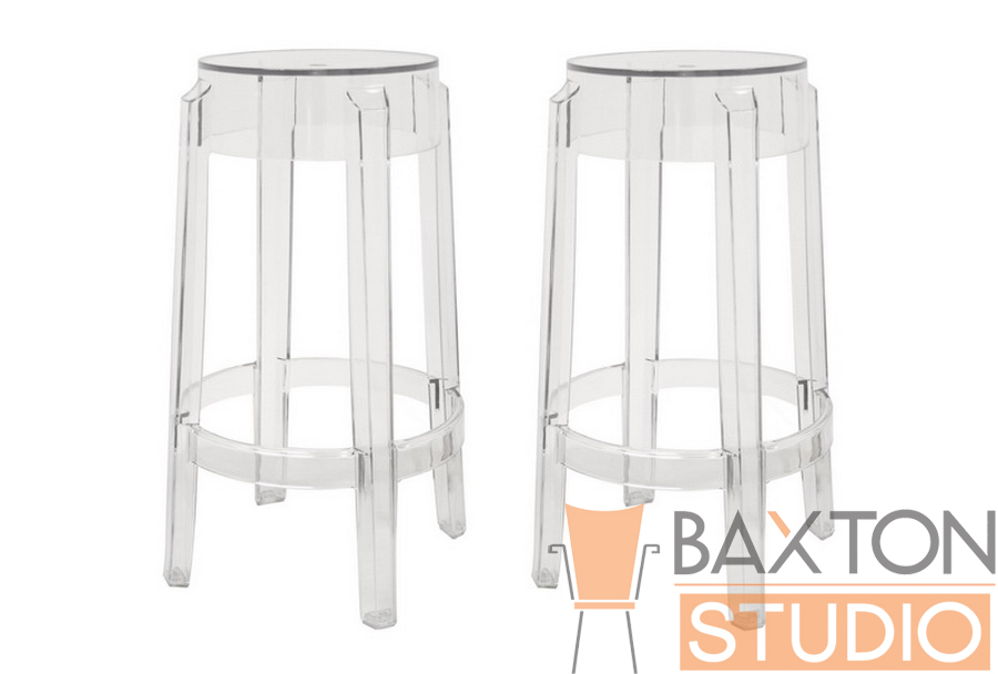 Ghost stools bettino clear acrylic counter height stool affordable modern design baxton studio - Ghost bar stools counter height ...