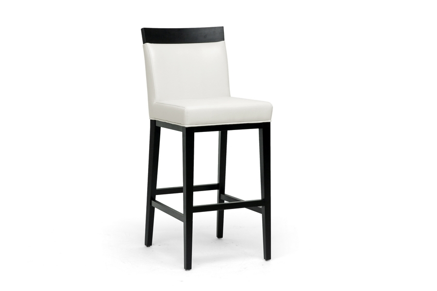 Baxton Studio Clymene Black Wood and Cream Leather Modern Bar Stool Baxton Studio Clymene Black Wood and Cream Leather Modern Bar Stool, BSY-1013-DU8143, Baxton Studio Affordable Modern Design