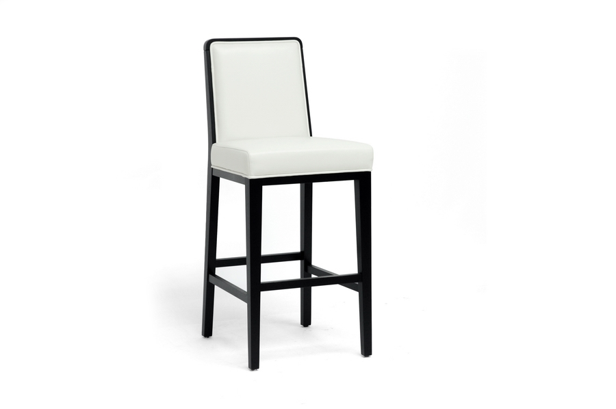Baxton Studio Theia Black Wood and Cream Leather Modern Bar Stool Baxton Studio Theia Black Wood and Cream Leather Modern Bar Stool, BSY-977-DU8143, Baxton Studio Affordable Modern Design