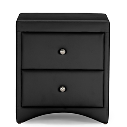 Baxton Studio  Dorian Black Faux Leather Upholstered Modern Nightstand Baxton Studio restaurant furniture, hotel furniture, commercial furniture, wholesale Bedroom Furniture, wholesale night stands, classic night stands