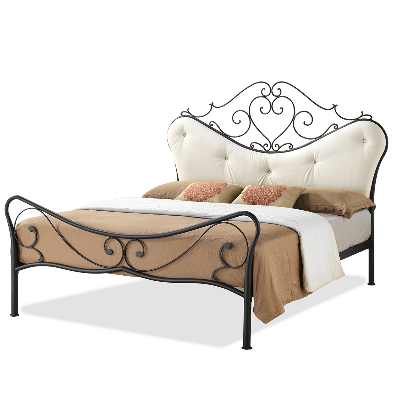 baxton studio alanna full size shabby chic metal platform bed with beige tufted headboard baxton studio