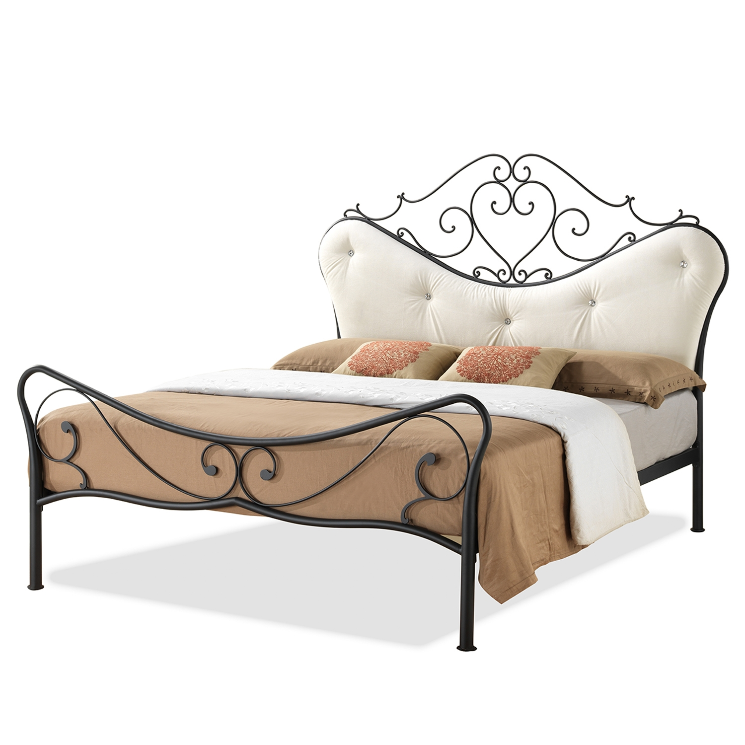 Baxton Studio Alanna Queen Size Shabby Chic Metal Platform Bed With Beige  Tufted Headboard Baxton Studio