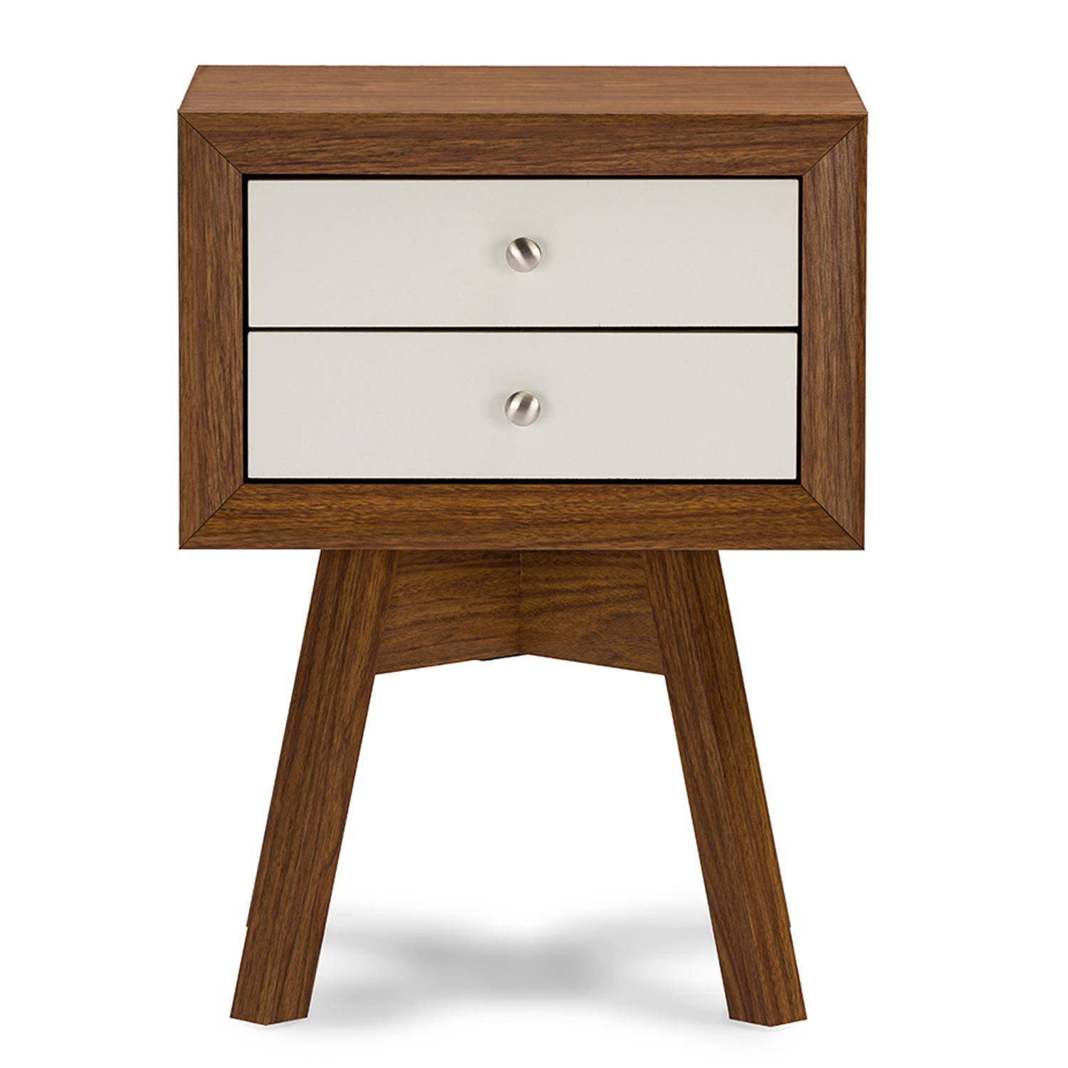 Baxton Studio Warwick Two Tone Walnut And White Modern Accent Table And  Nightstand Baxton Studio