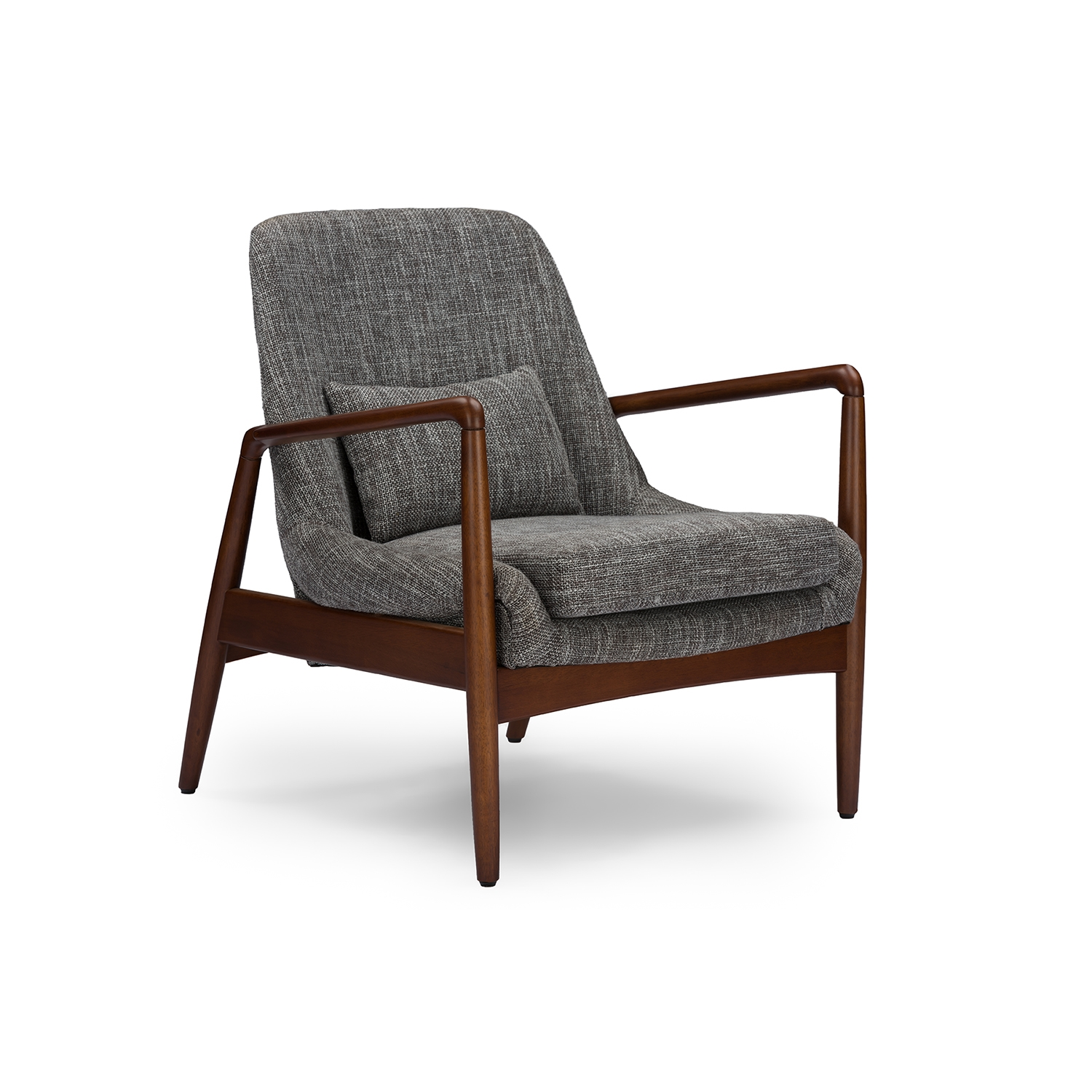 Bon Baxton Studio Carter Mid Century Modern Retro Grey Fabric Upholstered  Leisure Accent Chair In Walnut Wood Frame | Affordable Modern Design |  Baxton Studio