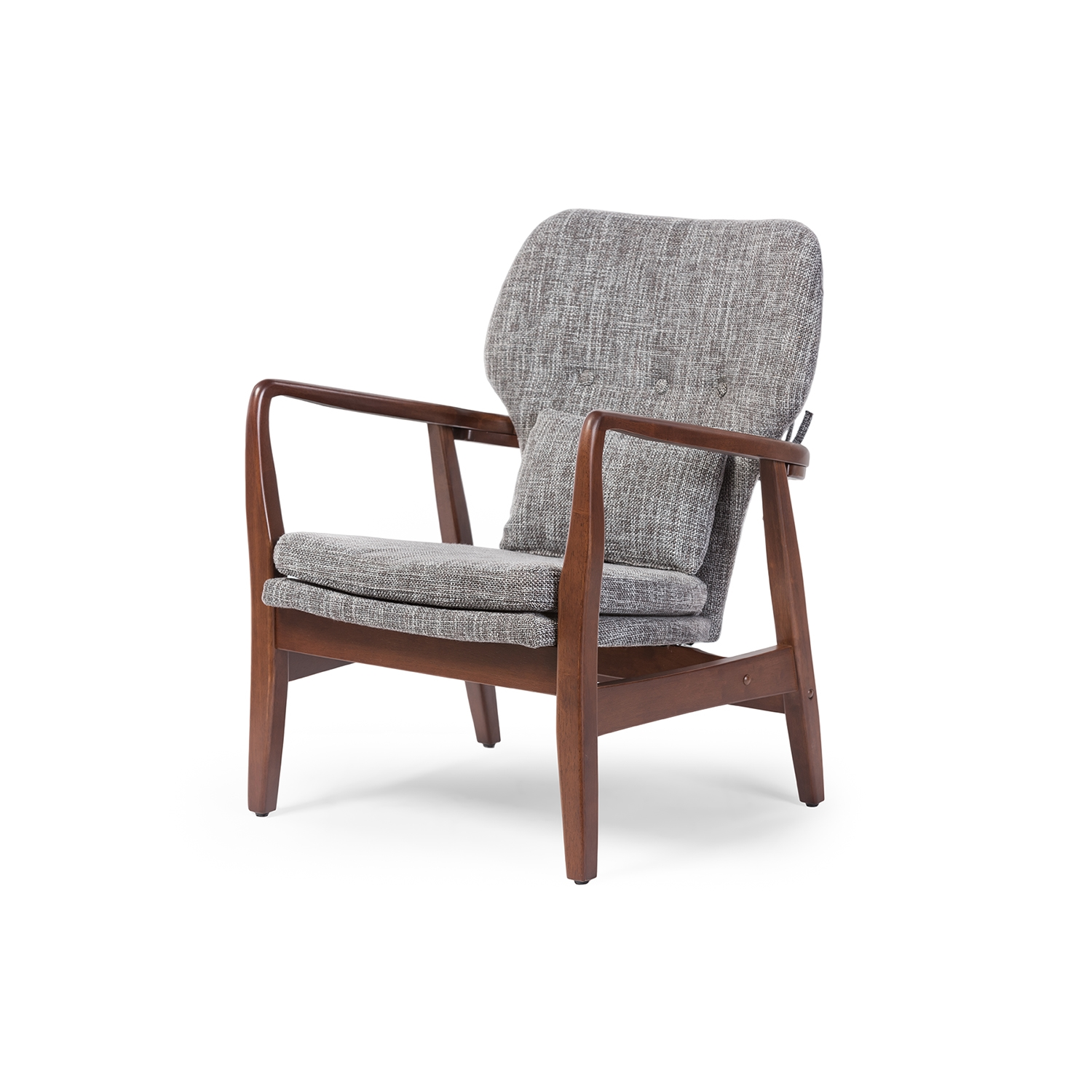wood frame accent chairs. Baxton Studio Rundell Mid-Century Modern Retro Grey Fabric Upholstered Leisure Accent Chair In Walnut Wood Frame | Affordable Design Chairs A